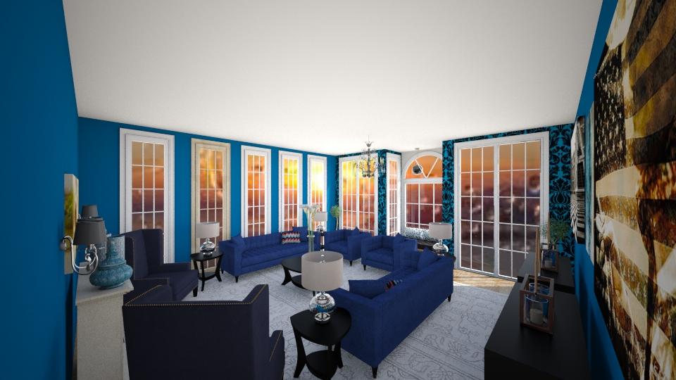 blue black - Living room - by marcela tamires