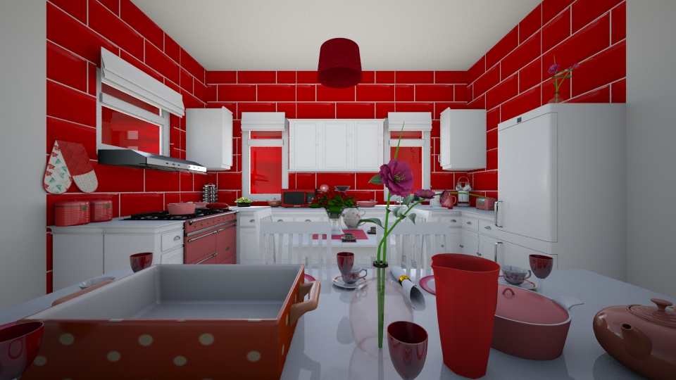 Red kitchen - by Interiors by Laura