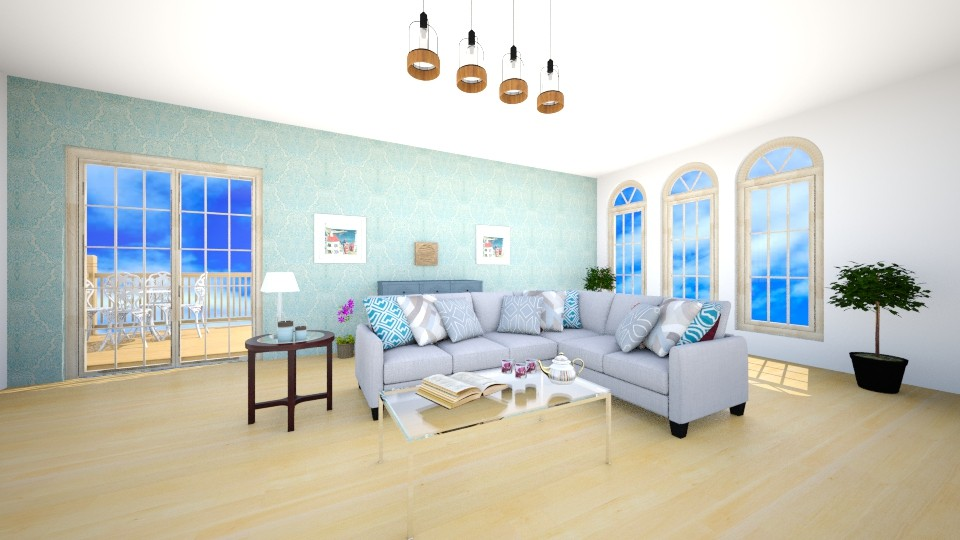 Blue By The Beach - Living room - by Josiemay1234