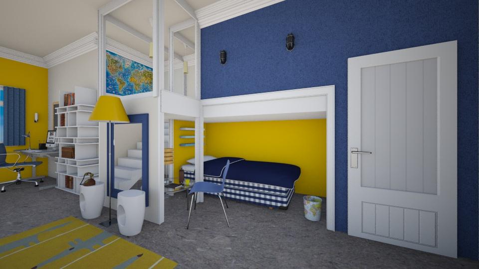 blue yellow - Bedroom - by Ni NI