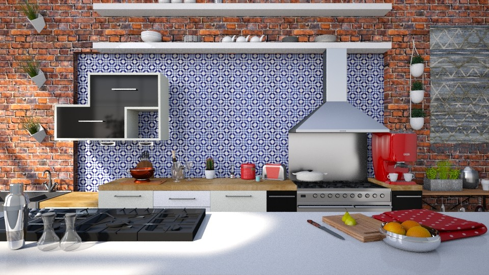 Blue and Red Kitchen - by lindsaycaitc