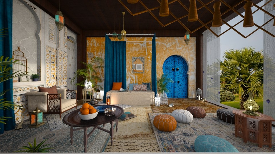 Orange and Blue - Bedroom - by ArtHousedeco