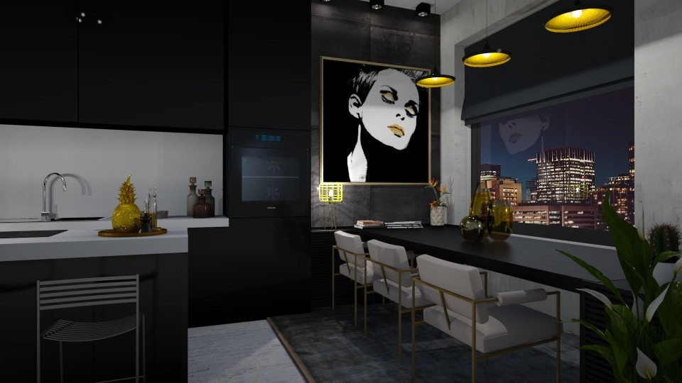 Black and Gold - Kitchen - by maudberg01