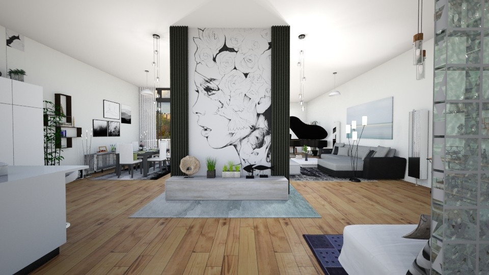 Blanc - Living room - by Sejuti Bala
