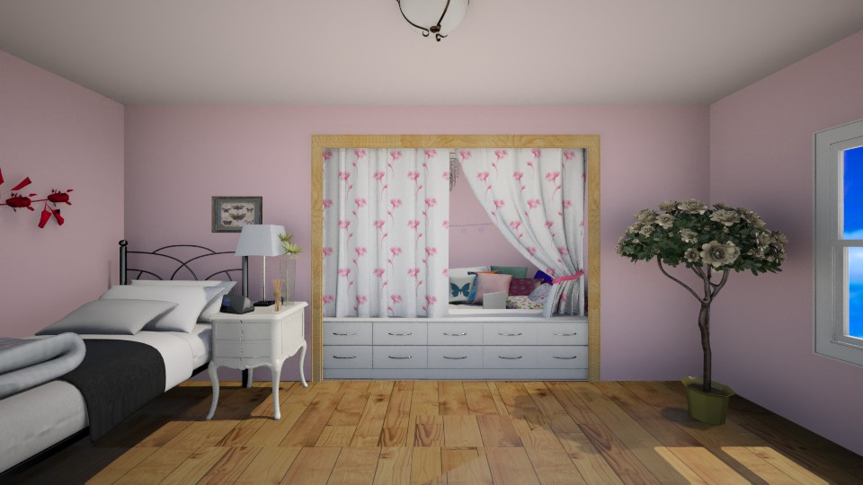 rose bedroom - Bedroom - by Jessica Lyn