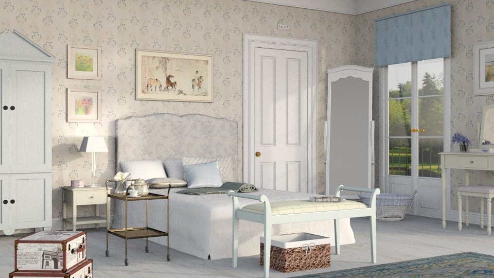country hotel room - Bedroom - by Sally Simpson