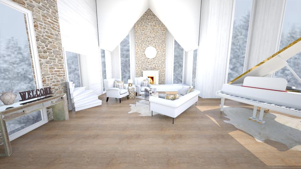 Winter Ski Lodge  - Living room - by jessicabaucke