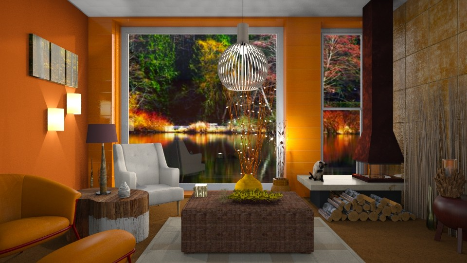 Autumn at the lake - Living room - by Sue Bonstra