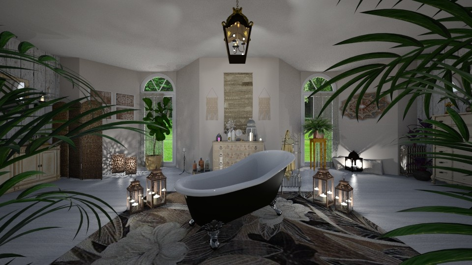 Bohemian bath - by Interiors by Laura