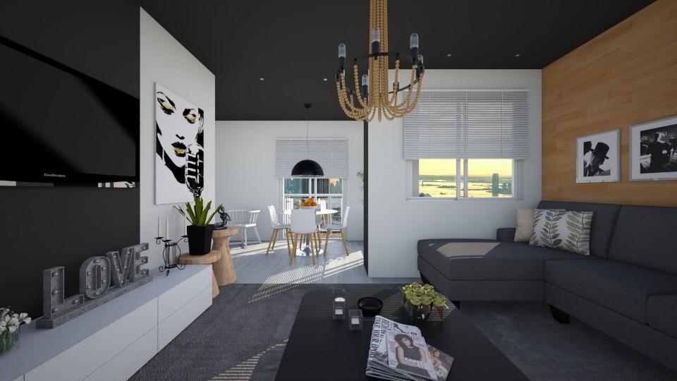 sala teto preto - Living room - by Tainaraa