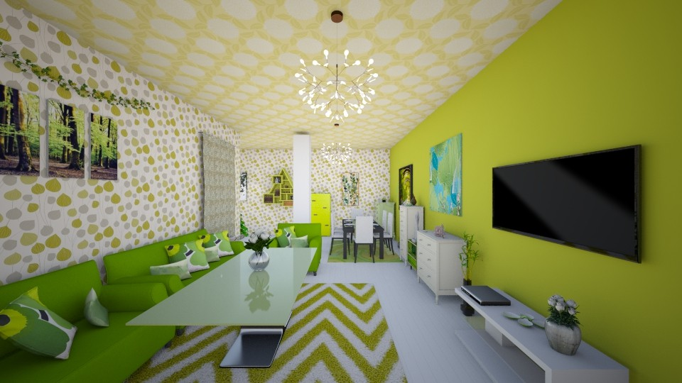 Green Living Room 1 - Living room - by Christina8898