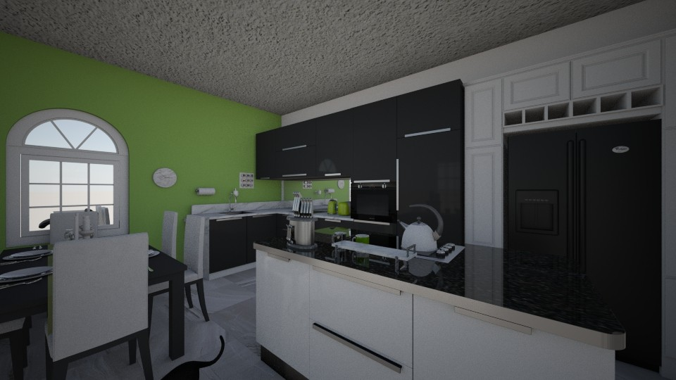 Black and white kitchen - Kitchen - by PeculiarLeah
