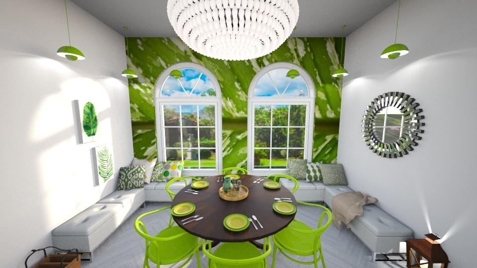 Green Dining Room - Dining room - by TamarK