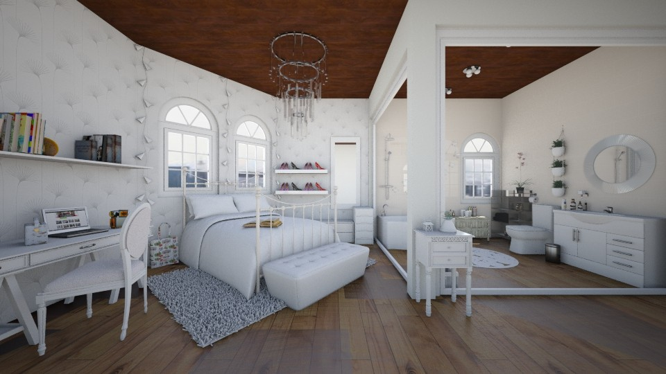 White Bedroom and Bath - Feminine - Bedroom - by florci_02