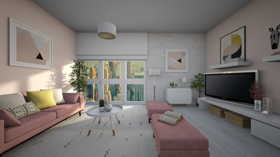 Think pink - Feminine - Living room - by Lucii