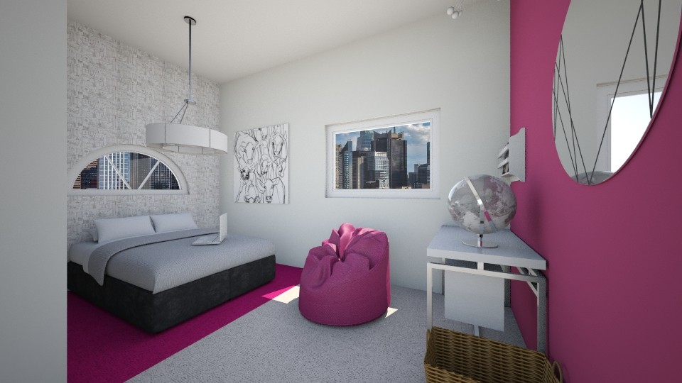 Pink Silver and Scribbles - Modern - Bedroom - by Paean