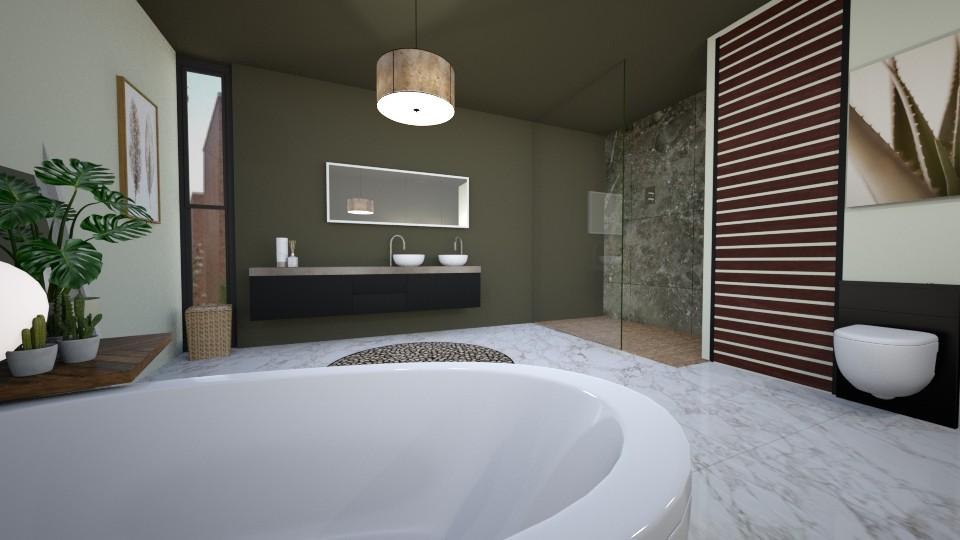 Modern oriental bathroom - Bathroom - by KimAlys