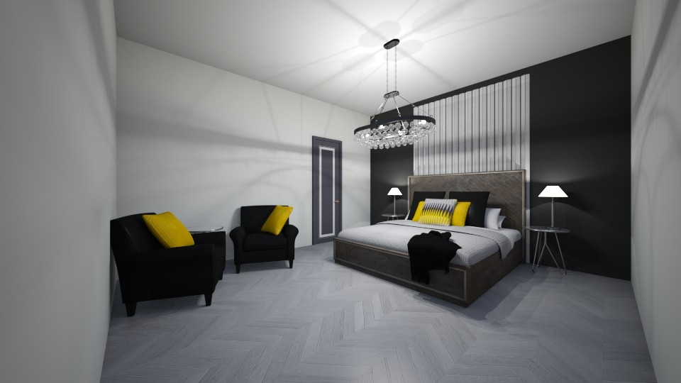 black and yellow master - Modern - Bedroom - by JarvisMe