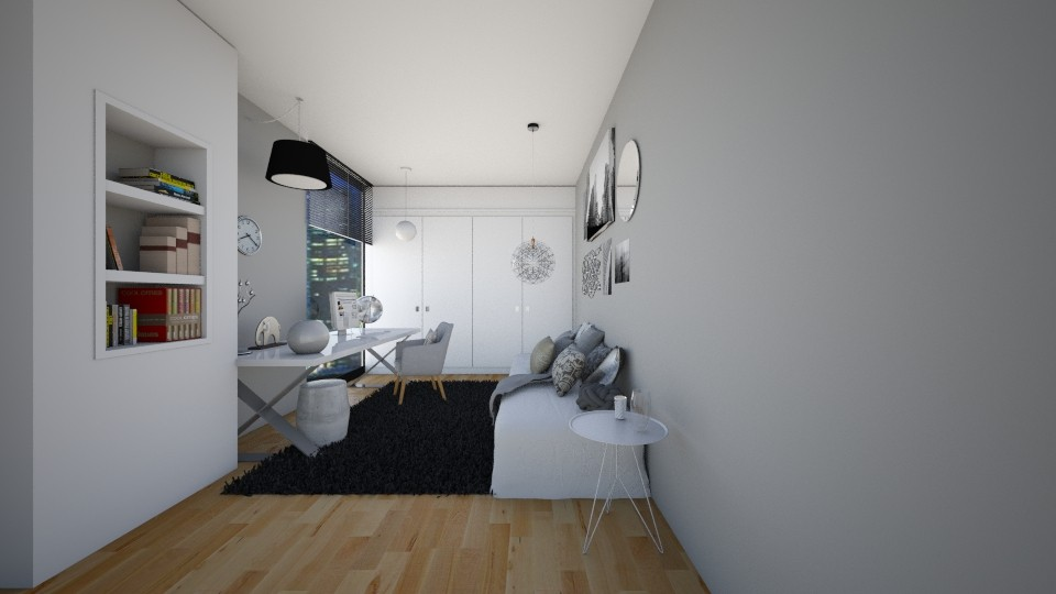 Gray and Silver Bedroom - Bedroom - by CatLover0110