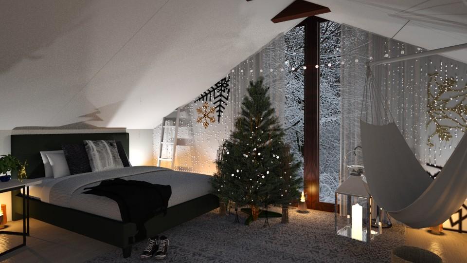 Cute Winter Bedroom - Bedroom - by JoycePotato