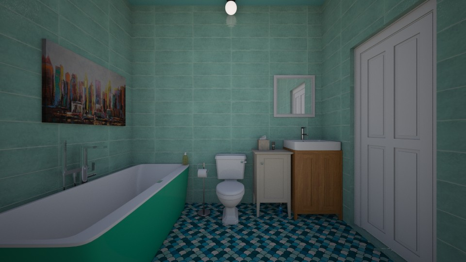 Turquoise Bathroom - by sstringham30280