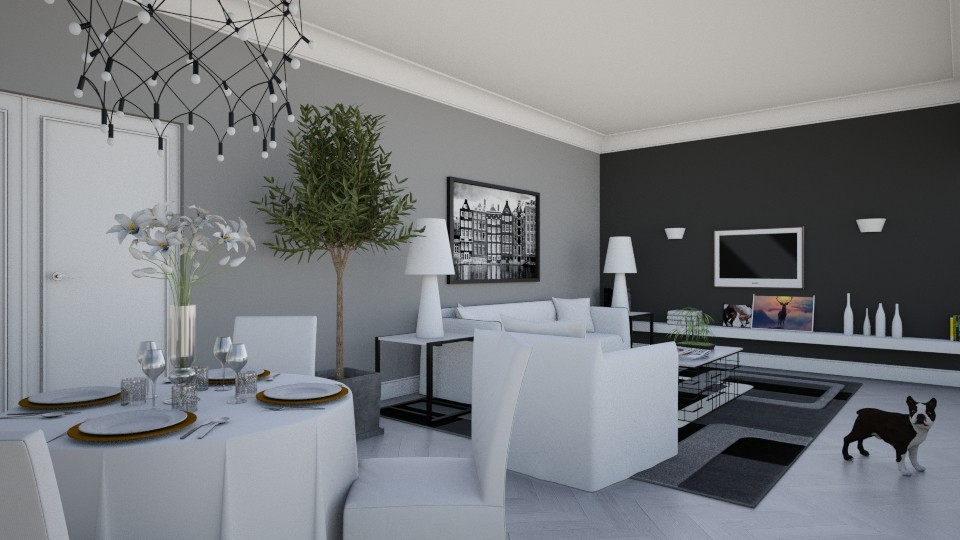 White Grey Black - Eclectic - Living room - by Theadora