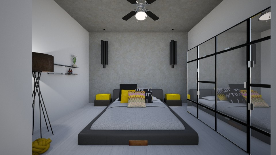 bedroom black and yellow - Modern - Bedroom - by Wikihomedecor