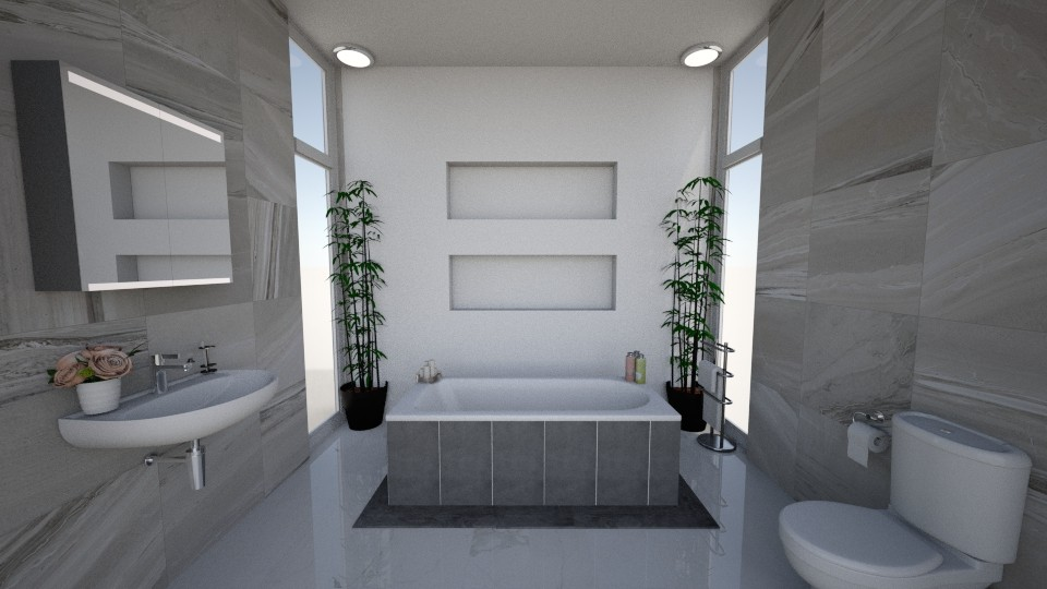 Modern Grey Bathroom - by alissiaxxx