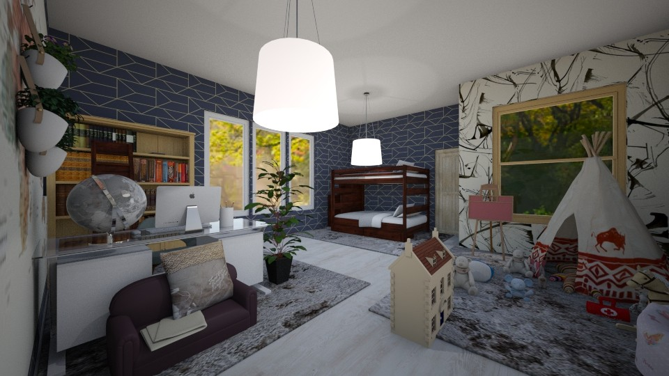 Bunk Bed Kids Room - Modern - Kids room - by Complete_Cookie