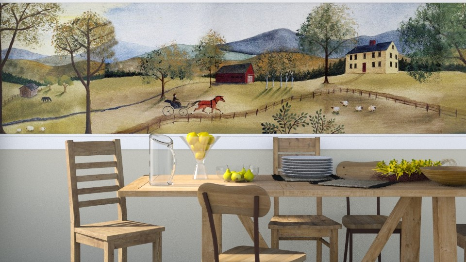 Folk Art Mural - Dining room - by GraceKathryn