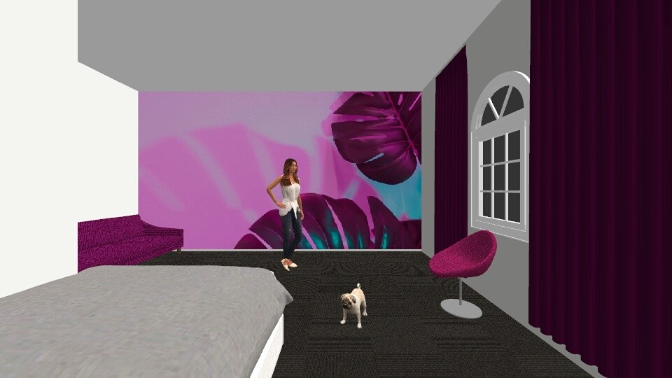 Pink And Deep Purple Leaf - Bedroom - by khayla simpson