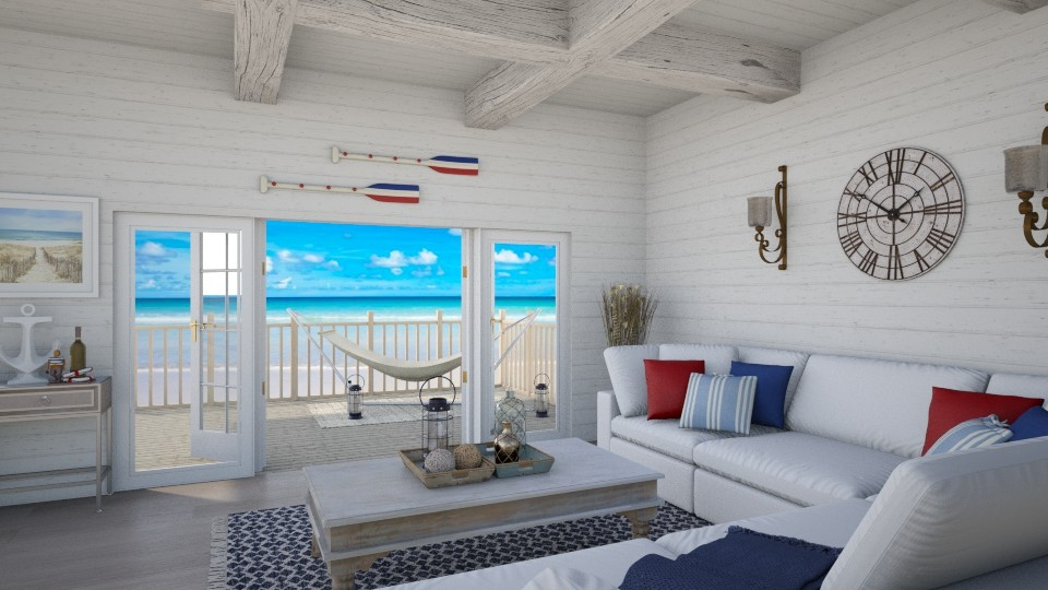 Beach Hut - Rustic - Living room - by Samantha Krug