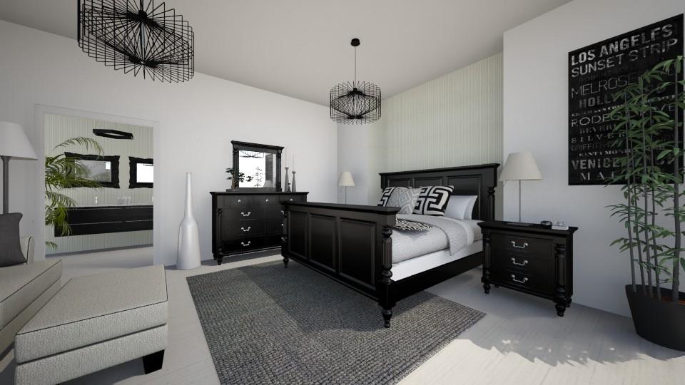 Black & White - Bedroom - by Sali15