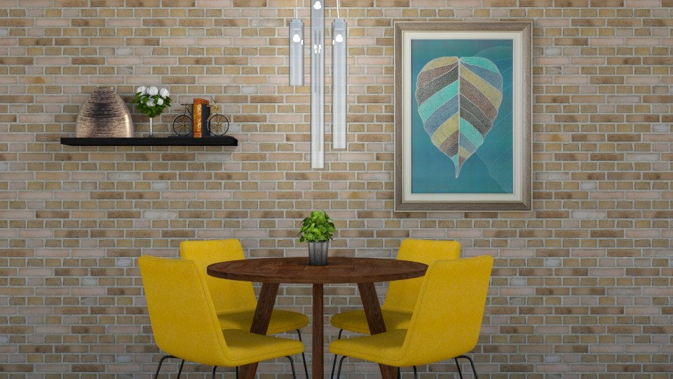 Yellow Vibes - Retro - Dining room - by cutebaxter123