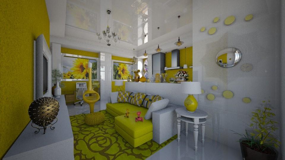 Amarello e Branco - Living room - by Maria Helena_215