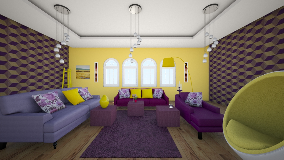 Purple Yellow Living Room Living Room By Sarasepideh