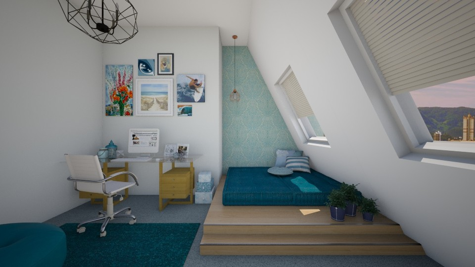 quarto azul - Bedroom - by Tainaraa