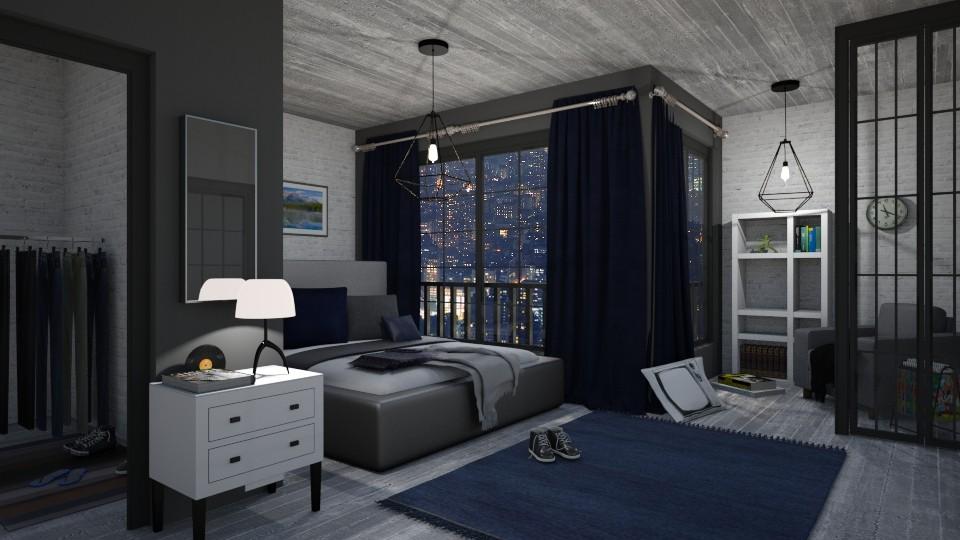 Loft Bedroom - Masculine - Bedroom - by Milapr
