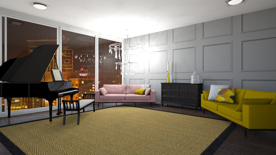 Pink N Mustard - Living room - by Paris Lidgard