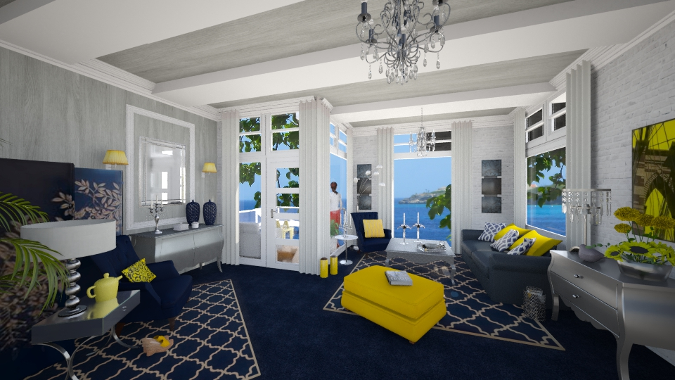 Blue & Yellow App. - Feminine - Living room - by yarah