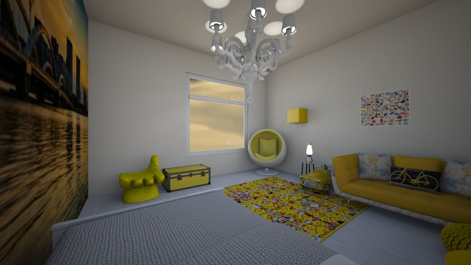 yellow and white  - Bedroom - by nicolaswiggins