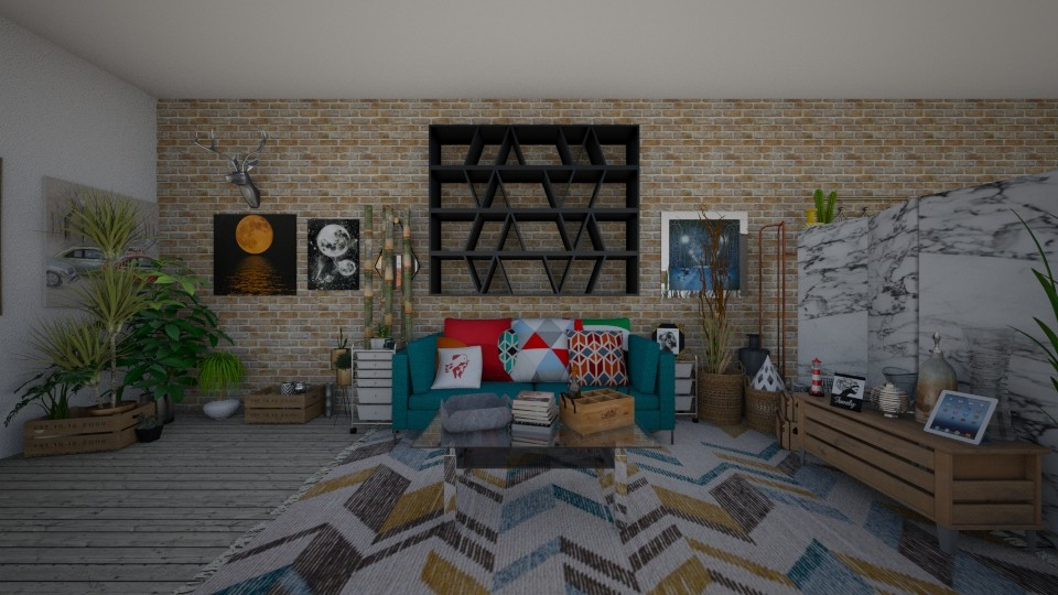 city apartment livingroom - by a tall cactus