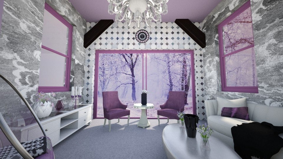 the purple and white room - Modern - Living room - by zayneb_17