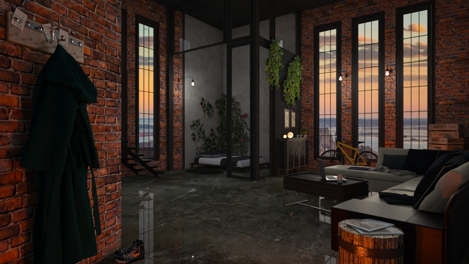 Glass and Brick Apt - Living room - by Twilight Tiger