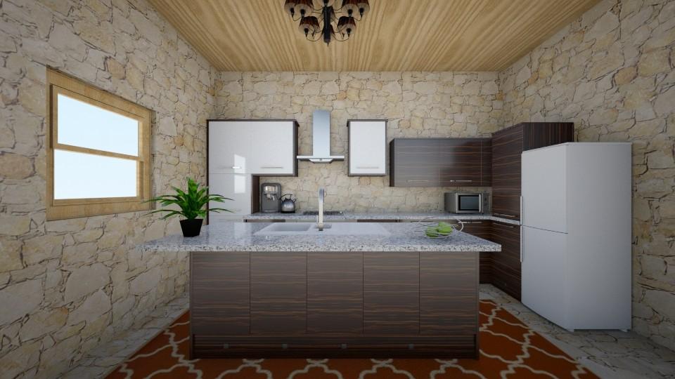 brick messy kitchen - Kitchen - by sirtsu