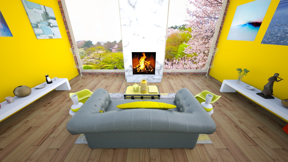 yellow and grey - Living room - by MilenaTheDesigner