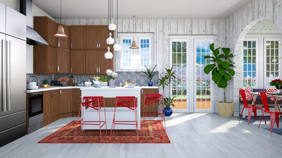 red and blue kitchen - by Ali Ruth
