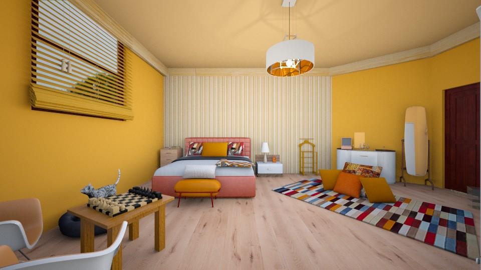 orange bed - Bedroom - by zayneb_17