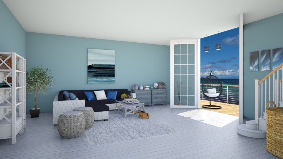Beach house in waves - Living room - by agapka