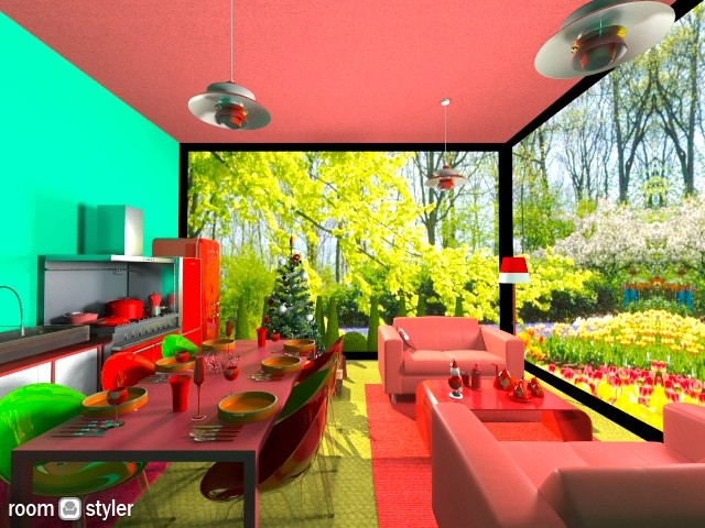 Red and Green Living Area - by TheArchitect